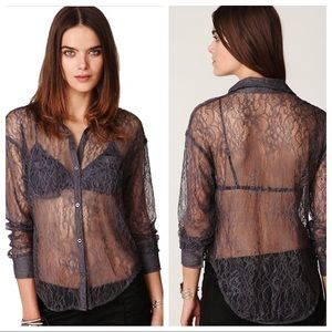 Free People Charcoal Lace Button Down Top Shirt L
